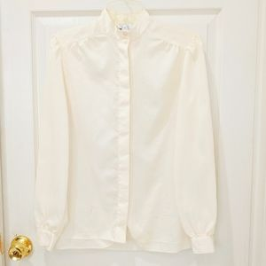 Vintage Euro Joy Cream Button Down Top sz S FLAW